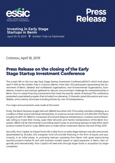 Closing Press Release